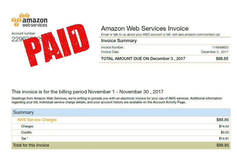 AWS invoice paid