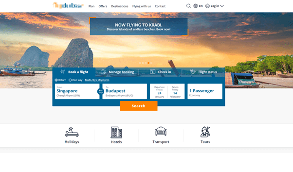 airline website